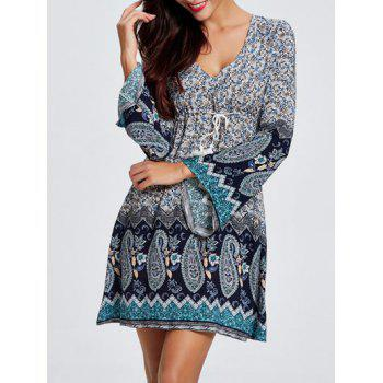 Bell Sleeves Hollow Out Flowers Print Dress - COLORMIX 2XL