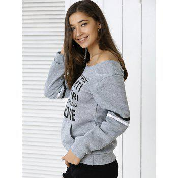 Off The Shoulder Long Sleeve Letter Print Sweatshirt - GRAY XL