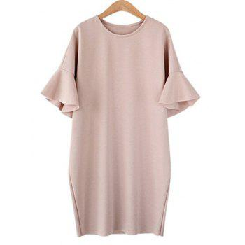 Plus Size  Ruffle Bell Sleeve Loose Dress