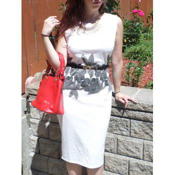 Brief Style Round Neck Sleeveless Floral Print Sheath Women's Dress