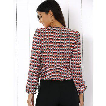 Plunging Neck Geometric Print Ruffles Blouse - 2XL 2XL