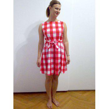 Retro Round Neck Sleeveless Plaid Dress