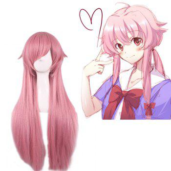 Long Straight Side Bang Pink Synthetic Gasai Yuno Fashion Cosplay Wig