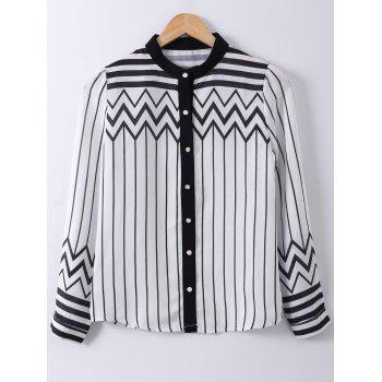 Ladylike Stand Collar Stripe Zigzag Print Long Sleeve Shirt