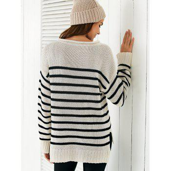 Scoop Neck Long Sleeve Stripe Loose Sweater - OFF WHITE ONE SIZE