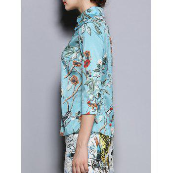 Satin Floral Print Buttoned Shirt - LIGHT BLUE 2XL