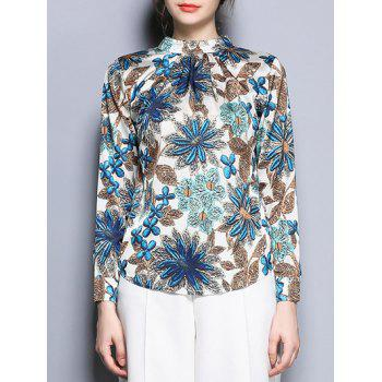 Stand Collar Long Sleeve Floral Print Blouse - COLORMIX 2XL