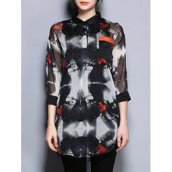 3/4 Sleeve Printed Pocket Design Loose-Fitting Blouse