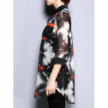 3/4 Sleeve Printed Pocket Design Loose-Fitting Blouse - BLACK 2XL