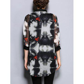 3/4 Sleeve Printed Pocket Design Loose-Fitting Blouse - 2XL 2XL