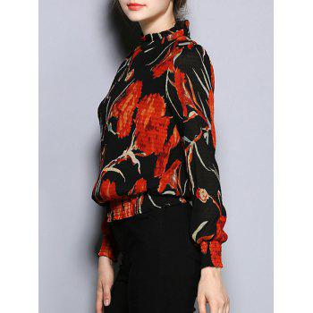Long Sleeve Floral Print Slimming Blouse - BLACK BLACK