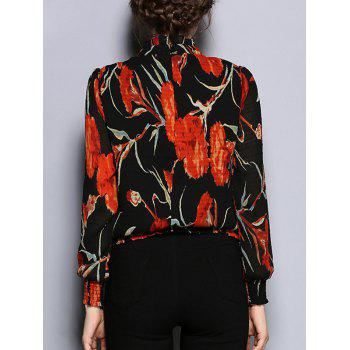 Long Sleeve Floral Print Slimming Blouse - S S