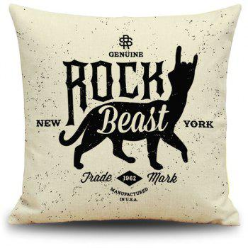 Creative Black and Beige Letter Animal Printed Pillow Case