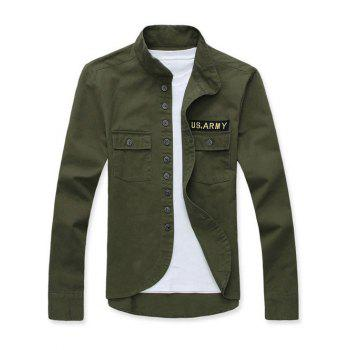 Buy Single Breasted Applique Stand Collar Long Sleeve Men's Jacket ARMY GREEN