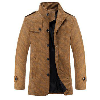 Epaulet Design Stand Collar Long Sleeve Men's PU-Leather Jacket
