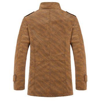 Epaulet design stand Collar manches longues hommes d  'PU-Leather Jacket - Kaki 4XL