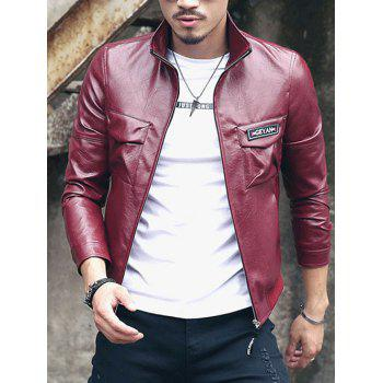 Fleece Turn-Down Collar Long Sleeve Men's PU-Leather Jacket