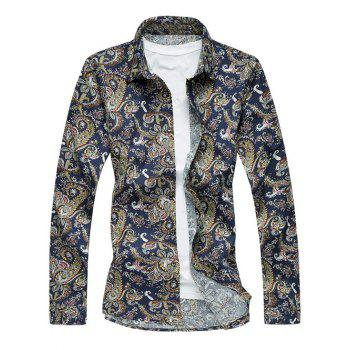 Retro Abstract Print Long Sleeve Turn-Down Collar Shirt