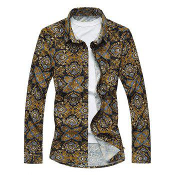 Vintage Abstract Print Long Sleeve Turn-Down Collar Shirt