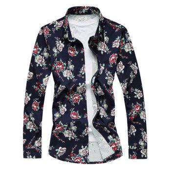 Vintage Flower Pattern Long Sleeve Turn-Down Collar Shirt