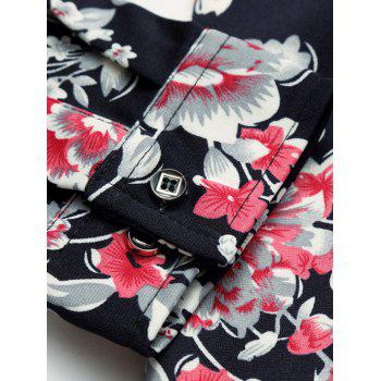 Retro manches longues turn-down col Floral Shirt - multicolorcolore L
