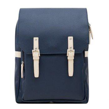 Trendy PU Leather and Double Buckle Design Men's Backpack - PURPLISH BLUE PURPLISH BLUE