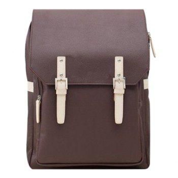 Trendy PU Leather and Double Buckle Design Men's Backpack - COFFEE COFFEE