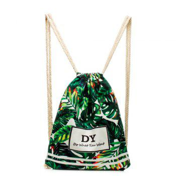Casual Leaves Print and Drawstring Design Women's Backpack