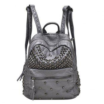 Stylish Solid Colour and Metal Rivets Design Women's Backpack