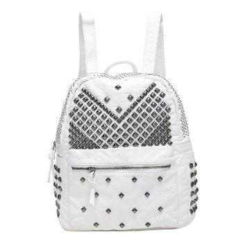 Buy Stylish Solid Colour Metal Rivets Design Women's Backpack WHITE