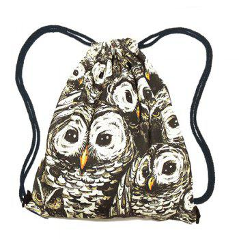 Casual Owl Print and Drawstring Design Women's Backpack