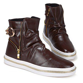 Leisure Metal and Zip Closure Design Men's Boots - COFFEE 44