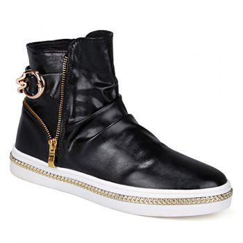 Leisure Metal and Zip Closure Design Men's Boots