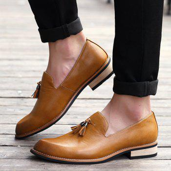 Retro Height Increasing and Tassels Design Men's Formal Shoes - BROWN 43