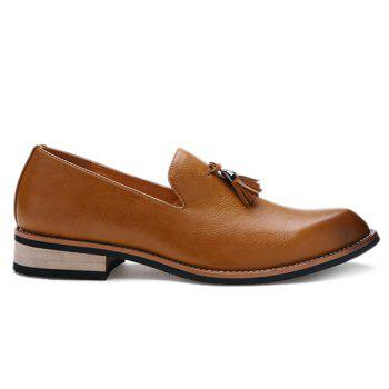 Retro Height Increasing and Tassels Design Men's Formal Shoes - BROWN 41