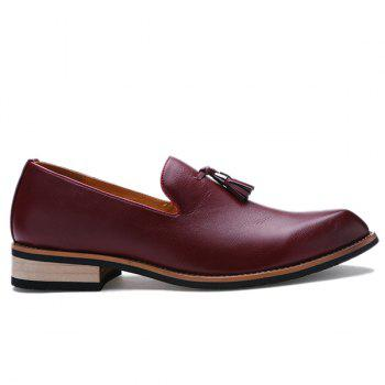 Retro Height Increasing and Tassels Design Men's Formal Shoes - WINE RED WINE RED