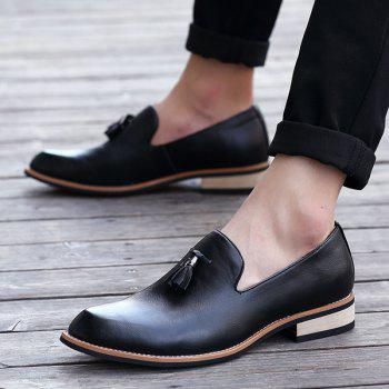 Retro Height Increasing and Tassels Design Men's Formal Shoes - BLACK BLACK