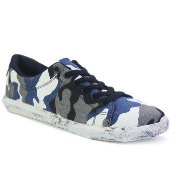 Buy Trendy Lace-Up Camouflage Pattern Design Men's Casual Shoes BLUE