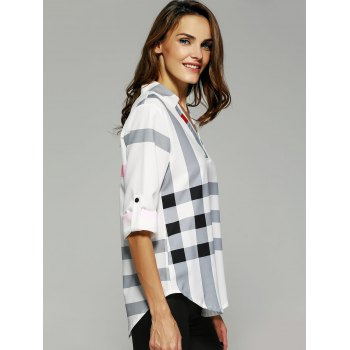 V Neck Color Block Tunic Blouse - XL XL