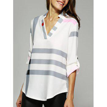 V Neck Color Block Tunic Blouse