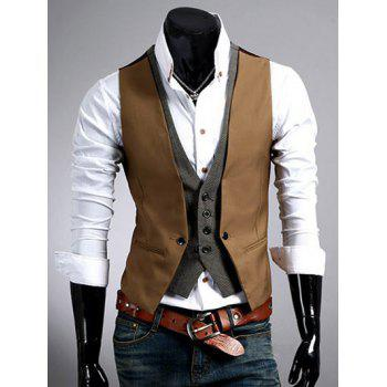 Color Block Splicing Design Faux Twinset V-Neck Single Breasted Waistcoat