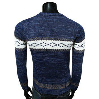 Round Neck Spliced Design Geometric Pattern Long Sleeve Sweater - CADETBLUE XL
