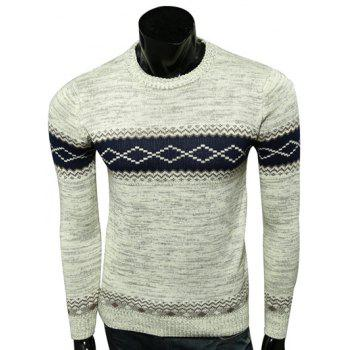 Round Neck Spliced Design Geometric Pattern Long Sleeve Sweater
