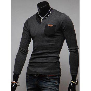 V-Neck Breast Pocket Long Sleeve T-Shirt