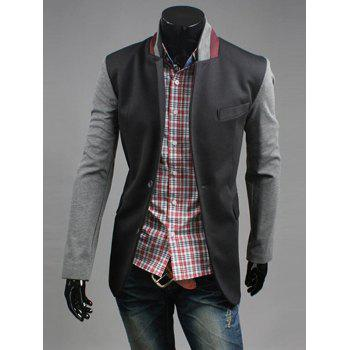 Stand Collar Breast Pocket Long Sleeve Spliced Casual Blazer