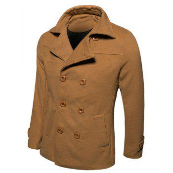 Turn-down Collar Woolen Blend Long Sleeve Peacoat