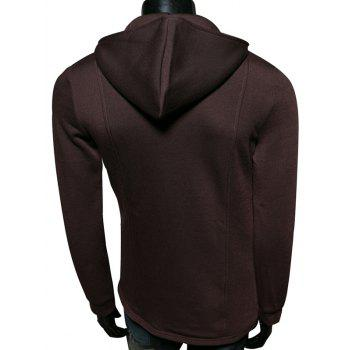 Pocket Embellished Zip Up Long Sleeve Hoodie - COFFEE 2XL