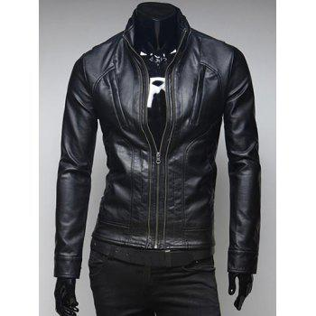 Zippered Pockets Design Stand Collar Long Sleeve Faux Leather Jacket