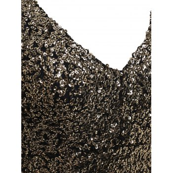 Plus Size Sequin Long Sleeve Glitter Bodycon  Short Club Dress - GOLDEN L