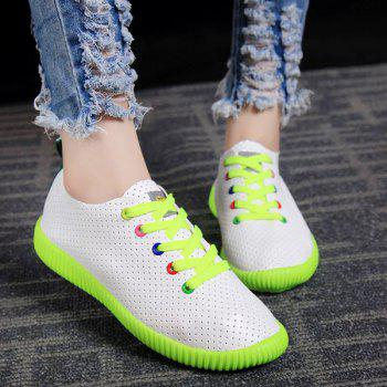 Preppy Breathable and Colorful Eyelet Design Women's Athletic Shoes - 38 38